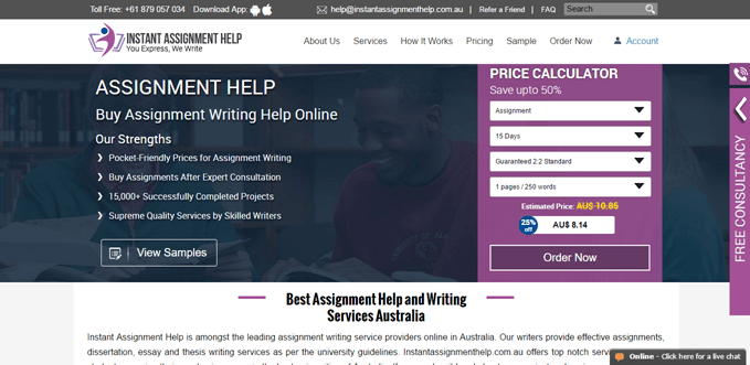 Instantassignmenthelp.com.au review – Rated 2.7/10