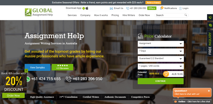 Globalassignmenthelp.com.au review – Rated 2.3/10